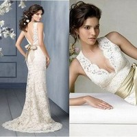 Ivory Lace V Neck Wedding dress Prom Evening Gown Us size 2 4 6 8 10 12 14 16 +