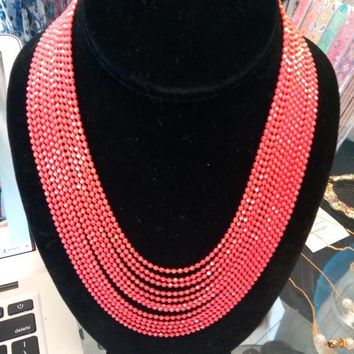 Coral Chain Necklace Gold Accents