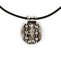 Leather Necklace, Ethnic Pendant Necklace, Tribal Style Silvertone Round Pendant,  Ethnic Jewelry
