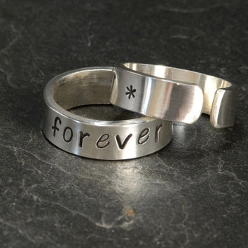 Best Friends Forever Sterling Silver Adjustable Friendship Ring Set