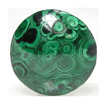 Plume Malachite Variegated Green Banded Round with some black goethite or heterogenite, Natural Semiprecious Stone Cabochon, Premium Quality