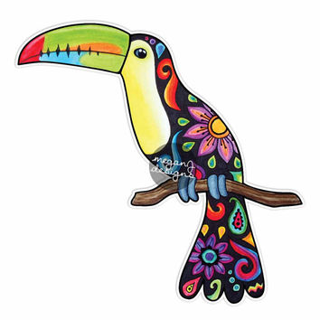 Toucan Sticker Colorful Design Car Decal Bumper Sticker Laptop Decal Pink Green Teal Yellow Rainforest Flowers Cute Bird Jungle Hippie Boho