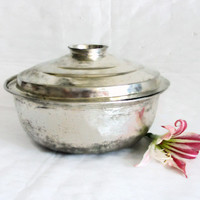 Stock pot with lid, vintage copper, tin plated casserole bowl. Rustic cookware serving dish, Silvertone primitive kitchenware, Kitchen decor