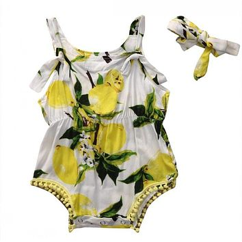 2Pcs/Set ! Newborn Baby Girl Romper Summer Sleeveless Backless Halter Sunsuit lemon Babies Outfits Clothes