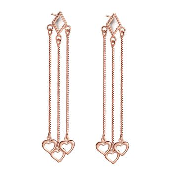 Triple Lucky Hearts Love Powers Amulets Gold-Silver-Tone Magical Energy Rain Drips Long Earrings