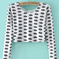 Black Lips Print Long Sleeve Cropped Top