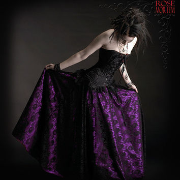 Acanthe Fairy Circle Skirt in Lace and Satin - Elegant Romantic Gothic Couture - made to measure in your colors