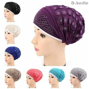 CREYCI7 Muslim Fashion Women Stretch Turban Hat Chemo Cap Hair Loss Head Scarf Wrap Hijib Cap Chemotherapy Hat QDD9052