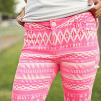 Hot Pink Aztec Jeggings