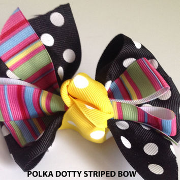 """Polka Dot and Striped Ribbon Bow for Female Dog or Cat Collar-""""Polka Dotty Striped Bow"""""""