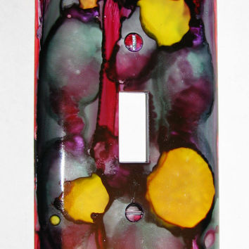 Light Switch Cover - Light Switch Plate Alcohol Ink Abstract Purple Yellow