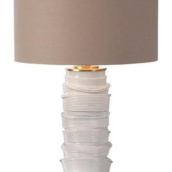 Stacked Rope Gloss Ceramic Table Lamp