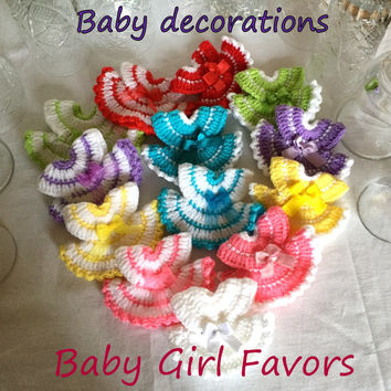 Baby Girl Favor Gift, Baby Dress Decorations, Miniature Baby Shower Favors Handmade Crochet Decorations Baby Girl Baptism Christening Favors