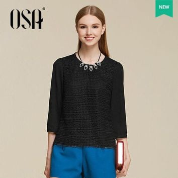 VONEUG4 OSA 2015 Autumn New Arrivals Casual Women Lace Patchwork Shirt Three Quarter Sleeve Shirts Blouse Tops SV554002