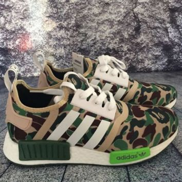 """Adidas"" Women Men Trending NMD Running Sports Shoes Camouflage green"