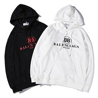 Balenciaga New fashion autumn and winter bust letter print loose leisure hooded long sleeve top sweater two color