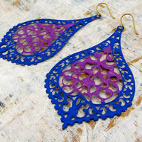 Big earrings Purple Blue Boho jewelry