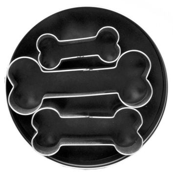 Fox Run 3 pc Dog Bone Shaped Stainless Steel Cookie Cutter Set