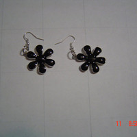 One inch black flowered enamel earrings gift woman OOAKHandmade Jewelry