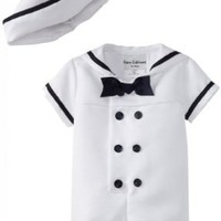 Rare Editions Baby Boys Infant White Nautical Bodysuit and Sailor Hat Set - 18 Months