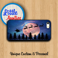 SANTA CLAUS CHRISTMAS iPhone6 Case iPhone 5S iPhone 5C Moon Shines Night Reindeers iPhone 6+ iPhone 4S Samsung Galaxy S5 S4 S3 Merry X Mas