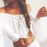 Long Sleeve Floral Lace Smocked off the Shoulder Strapless Chiffon Shirt