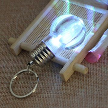 Creative Colorful Changing LED Flashlight Light Mini Bulb Lamp Key Chain Ring Keychain Clear Lamp Torch Keyring