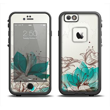 The Vintage Teal and Tan Abstract Floral Design Apple iPhone 6 LifeProof Fre Case Skin Set