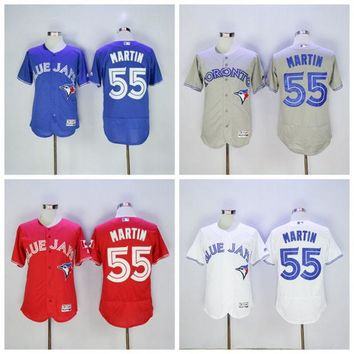 Toronto Blue Jays 55 Russell Martin Jersey Flexbase Cool Base Vintage Baseball Jerseys Stitched 2016 With 40th Patch White Grey Blue Red