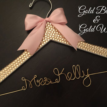 GOLD Rhinestone Hanger, BLING Wedding Hanger, Bridal Hanger, Personalized Hanger, Gold Wire Hanger, Bride Hanger, Gold and Blush Wedding