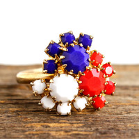 Vintage Patriotic Ring -  1960s Adjustable Gold Tone Red White & Blue Cocktail Costume Jewelry / Mod Glass