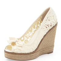 Tory Burch Jackie Lace Espadrille Wedge, White