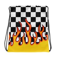 Checkerboard Flame Drawstring Bag