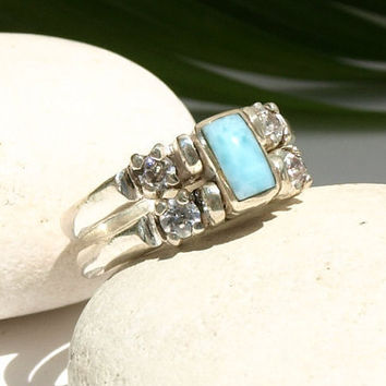 Larimar and Dominican Red Amber Cubic Zirconia Ring Multistone Sterling Silver Flip 2 way reversible genuine stone sizes 8.5, 8.75, 9