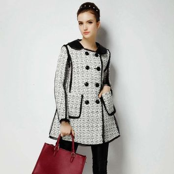 Retro Casual Elegant Double Breasted Leather Collar Jacket