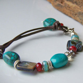 Etsy, Etsy Jewelry, Beaded Jewelry, Beaded Bracelet, Turquoise, Ruby Red Quartz, Abalone Shell and Leather Bracelet