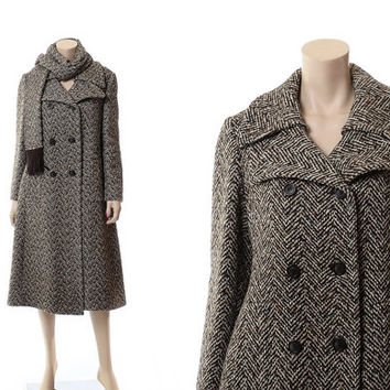 Vintage 60s Brown Tweed Princess Coat w/ Shawl 1960s Mod Atomic Wool Blend Chevron Carnaby Street Double Breasted Jackie O Dress Outerwear