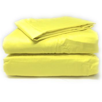 Tache 2-3 Piece Lemon Drop Yellow Bed Sheet Set (Fitted Sheet)