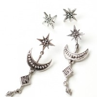 Moon & Star 2 Piece Earring Set Silver