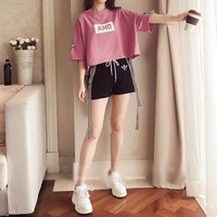 """Adidas "" Women Casual Fashion Multicolor Stripe Webbing Letter Print Short Sleeve Shorts Set Two-Piece Sportswear"