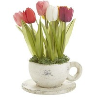 Faux Tulips in Cup & Saucer