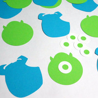 12 Mike Wazowski and Sulley Monsters Inc Silhouettes Cutouts Die Cut Paper Crafting Scrapbooking Confetti Card Making Supplies