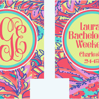 Bachelorette Lilly Koozies. Lilly Koozies. Lilly Gifts. Monogram Bachelorette Party Favors. Personalized Coozies!