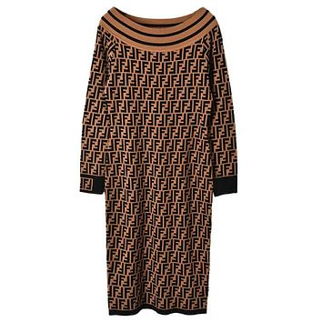 FENDI Autumn Winter Trending Women Stylish F Letter Jacquard Long Sleeve Off Shoulder Knit Dress Coffee