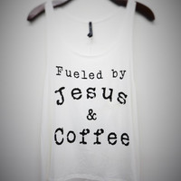 Fueled by Jesus & Coffee Graphic tank top