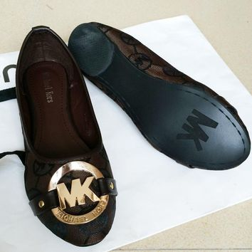 MICHAEL KORS MK Fashion new more letter slippers sandals Single shoes Coffee