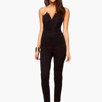 v notched strapless jumpsuit from forever 21 one pieces. Black Bedroom Furniture Sets. Home Design Ideas