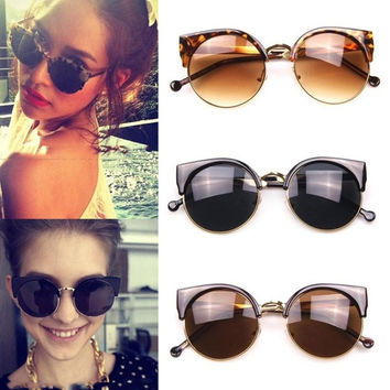 Half Frame Round Cat Eye Designer Retro Ladies Women Men Sunglasses