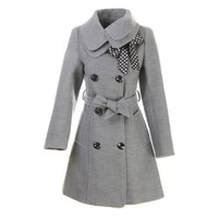 Hee Grand Women Wool Blends Coat Slim Trench Winter Coat Chinese M Gray