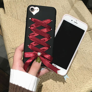 Cute 3D DIY Case For iphone 7 6 6S Plus Funda Fashion Color Shoelaces Ribbon Bowknot Pearl Phone Cases Soft TPU Silicone Cover